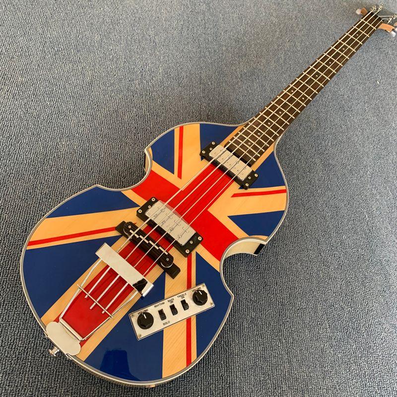 McCartney Hofner H500 / 1-CT 현대 바이올린 딜럭스 4 현베이스, 자연 일렉트릭 기타 화염 단풍 나무 뒤 190507