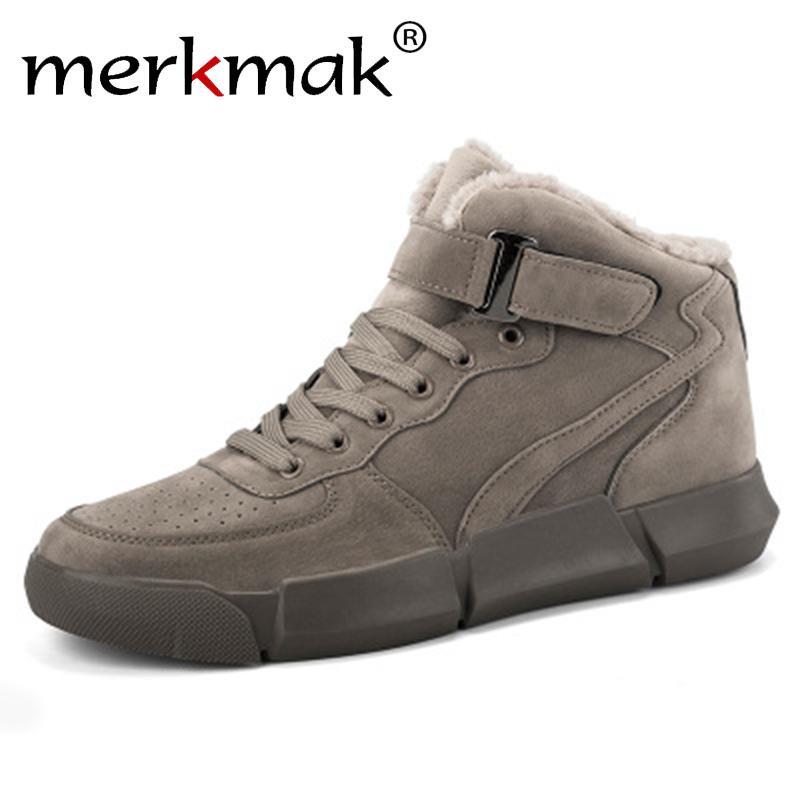merkmak Homens Botas de Inverno mais de veludo quente Sapatilhas Ar Livre sapatos impermeáveis Men High Top Lightweight Botas Sólidos Calçado T200305