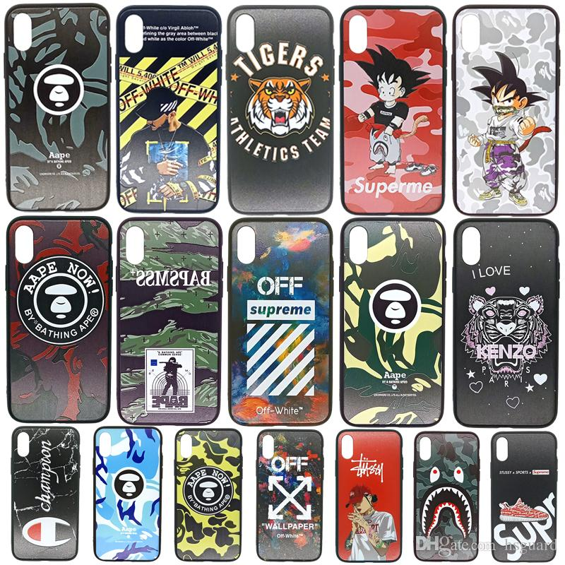 For Iphone Xr Xs Max Phone Case Variety Of Brand Patterns 6 7 8 X Plus Soft Edge Hard Back Cell Phone Case