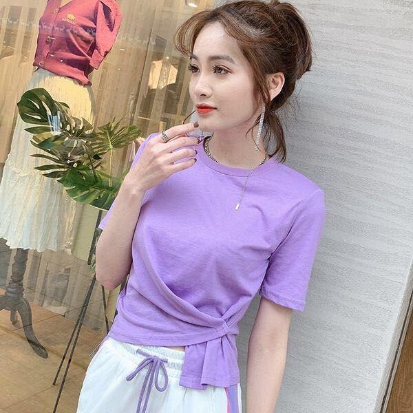 TiLeewon летних девушки T-Shirt Solid Color Повседневного Joker T-Shirt Short Style O-образный вырез