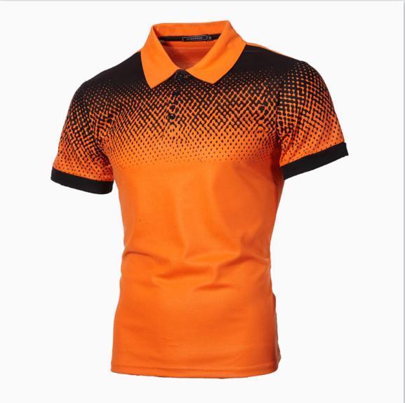 LuxuxMens Polo Shirts Designer Printed Gradient dünnes T-Stück beiläufiges Mens kurze Ärmel Tops