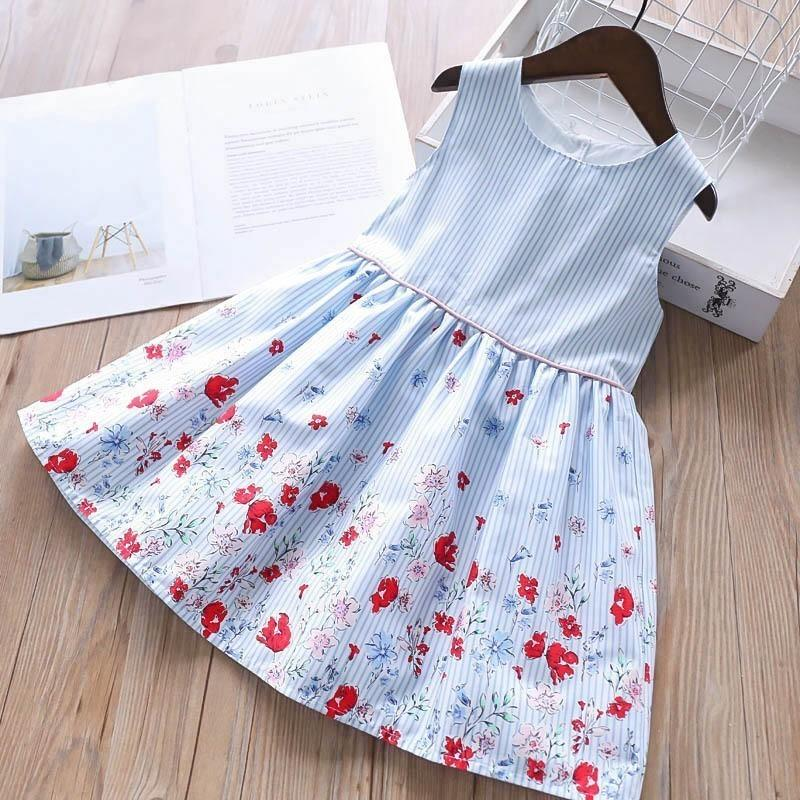 Birthday Dress For Girls Party Dress Baby Frocks Floral Summer School Cotton Kids Dresses For Girls Clothing Children Outfit MX190724