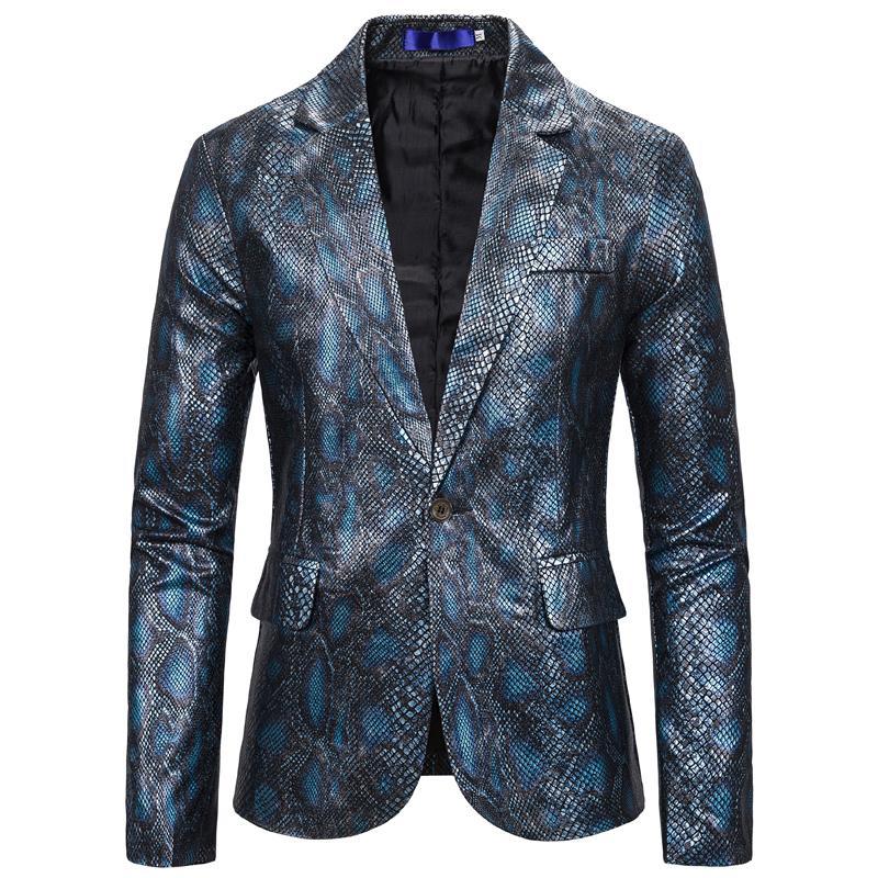 Un botón de la moda hombres traje chaqueta de manga larga otoño Luz del resorte Peso de piel de serpiente Blazer Streetwear Dj chaquetas grandes y altos