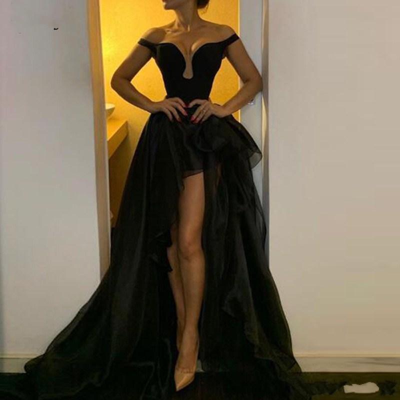 Sexy Low vestidinhos pretos altos Evening 2020 fora do ombro A Linha de vestido de baile Querida Mulheres Tulle Cocktail Party Vestidos