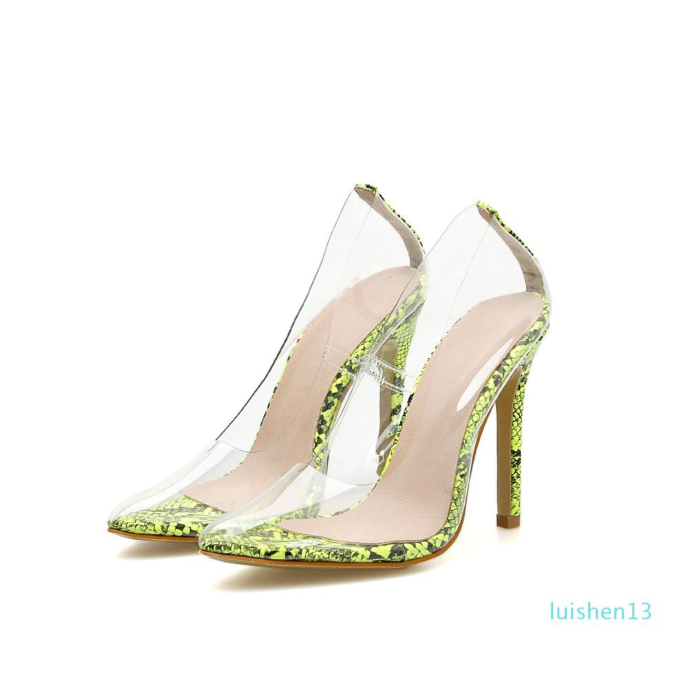 LEOPARD TIERRA 2019 Transparente zapatos de tacón alto en un solo punto de tacón alto transparentes zapatos solo de Sexy PVC mujeres de 3 colores L13