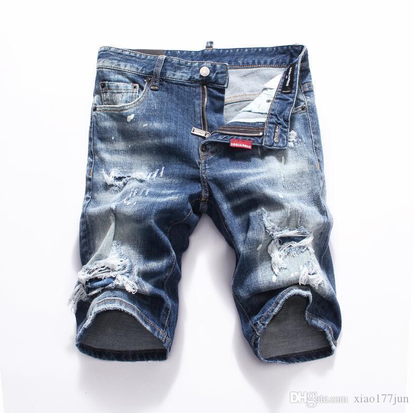 Nuevo 2019 Pantalones cortos de mezclilla para hombres Pantalones vaqueros Club nocturno azul Algodón Moda Pantalones de verano ajustados para hombre A8066 PHILIPP PLEIN DSQUARED2 DSQ2 D2