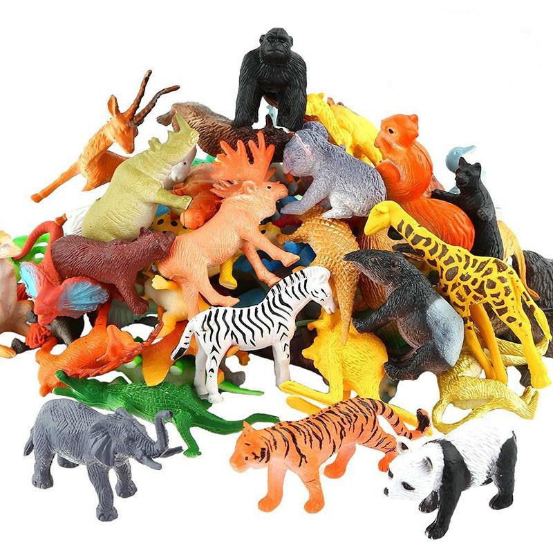 53pcs / set Animal Simulación Mini Animal Zoo World Modelo figura de acción de juguete Conjunto de dibujos animados precioso Plásticos Colección de juguetes para niños T191226