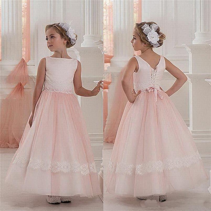 Elegante rosa Prinzessin Blumenmädchenkleider für Hochzeit Tüll Kommunion-Geburtstags-Party-Kleid-Mädchen-Spitze-Partei-Bankett-Kleid