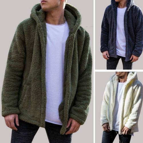 Mens Winter Warm Bear Pocket Fluffy Coat Fleece Fur Jackets Outerwear Coat