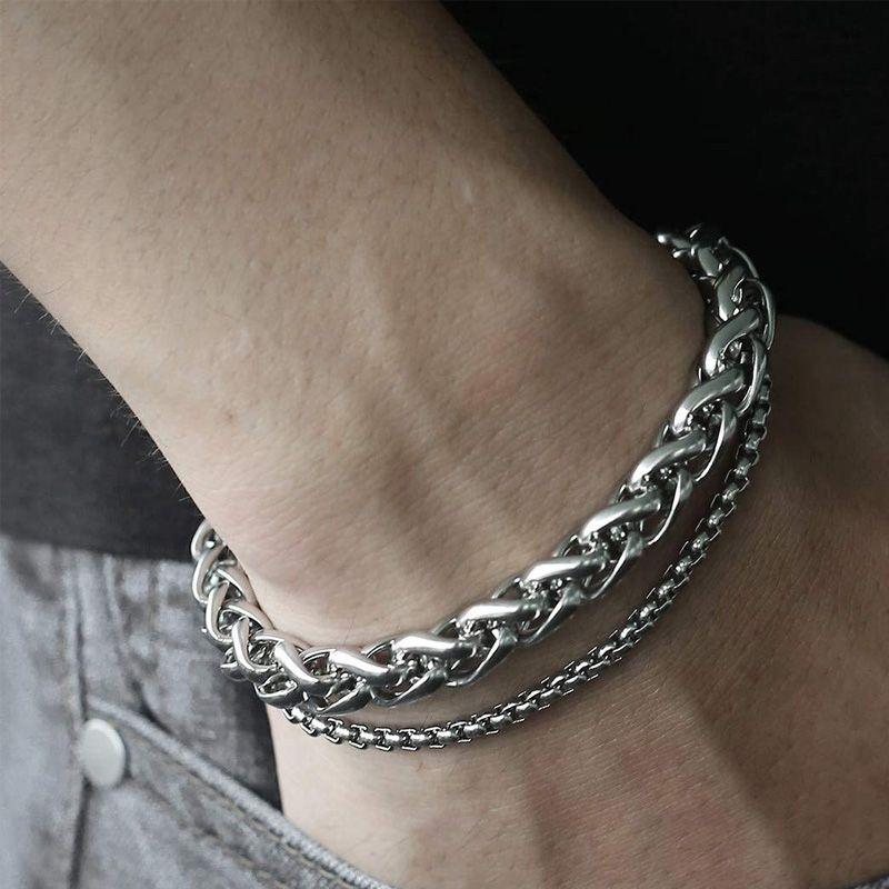 toptan erkek aksesuar el hediyeler erkek bilezik çift paslanmaz çelik bileziği hip hop serseri zinciri