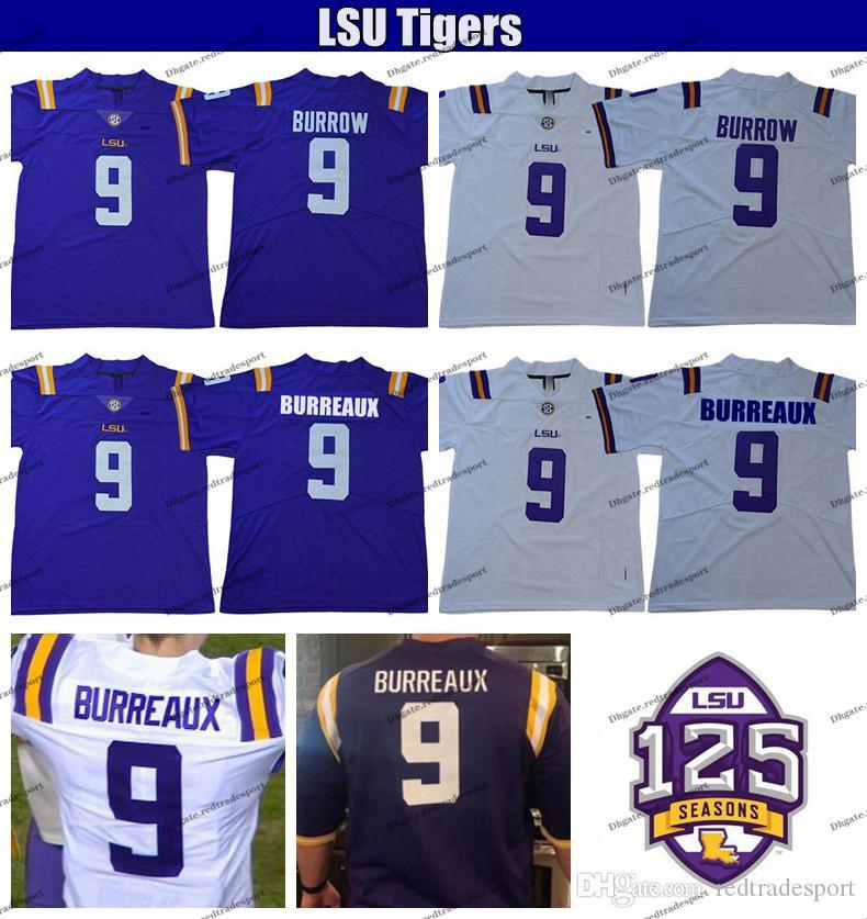 2019 LSU 타이거스 125 조 Burreaux 화이트 9 조 버로우 대학 축구 유니폼 남성 스티치 보라색 셔츠