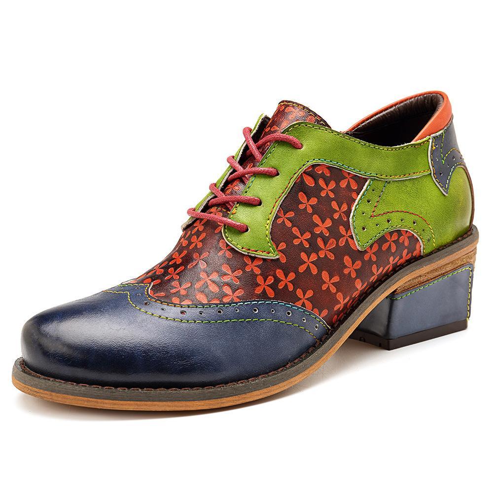Zapatos de las mujeres 2020 zapatos de las mujeres Oxford plana primavera cuero auténtico Brogue cómodo Zapatos de mujer