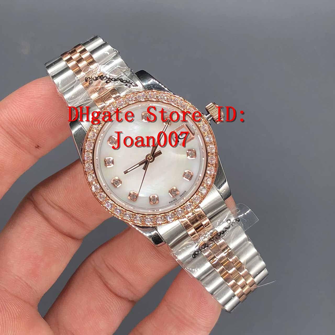 Guarda il miglior presidente Qualità lunetta diamanti donne inox orologi di prezzi più bassi delle signore delle donne automatico Orologio meccanico 31mm