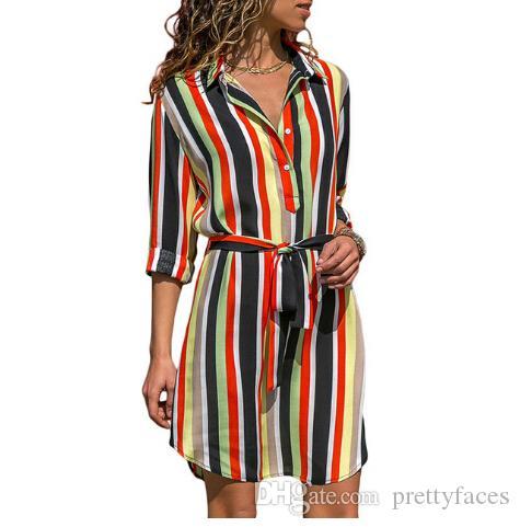Camisa de manga longa dress 2019 chiffon verão boho beach vestidos de mulheres casuais listrado impressão a linha mini party dress vestidos