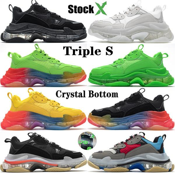 Free Shipping 2020 Burst Laser Crystal Bottom 17W Triple S Luxury Designer Womens Mens Casual Vintage Dad Platform Shoes Trainers Sneakers