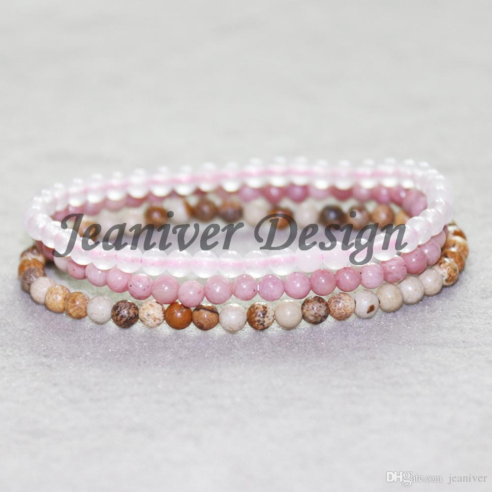 Jeaniver 2019 Quartz Rose z Bracelet Bracelet en rhodonite Photo Jaspers Mini Gem Stone Bracelets énergétiques