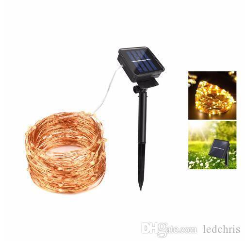 Güneş Enerjisi LED Tatil Işık Bakır Tel LED Dize Açık Lamba Dekoratif Bahçe Çim Düğün Parti Noel 10 M 20 M Peri Işıkları
