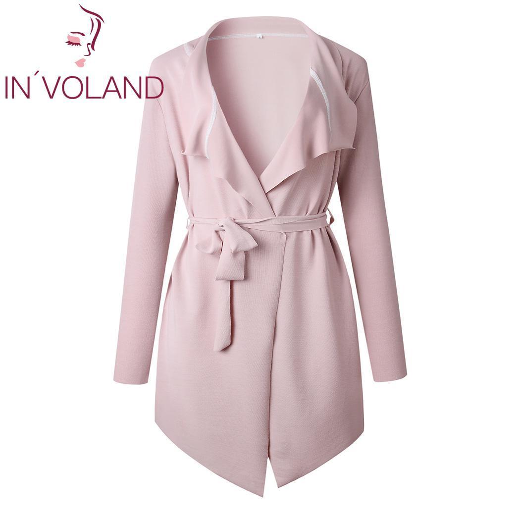 Damengrabenmäntel Mode Frauen Casual V-Ausschnitt Lange Normale Passform, Asymmetrische Saumärtel Gürtel Feste Outwear