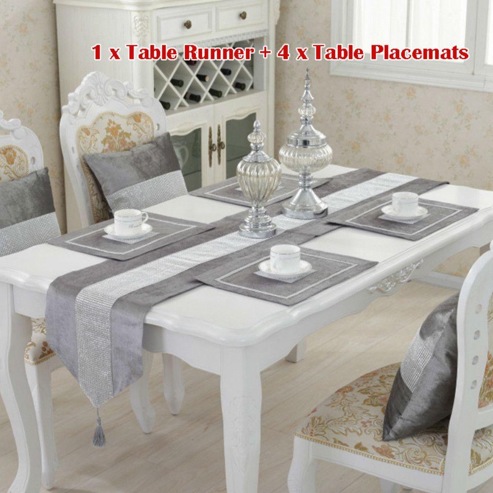 Modern Elmas Kadife Masa Runner + 4 Yemek Placemats Tablemats Ev Dekorasyonu Düğün Dekorasyon YOK minder KAPAK Y200421