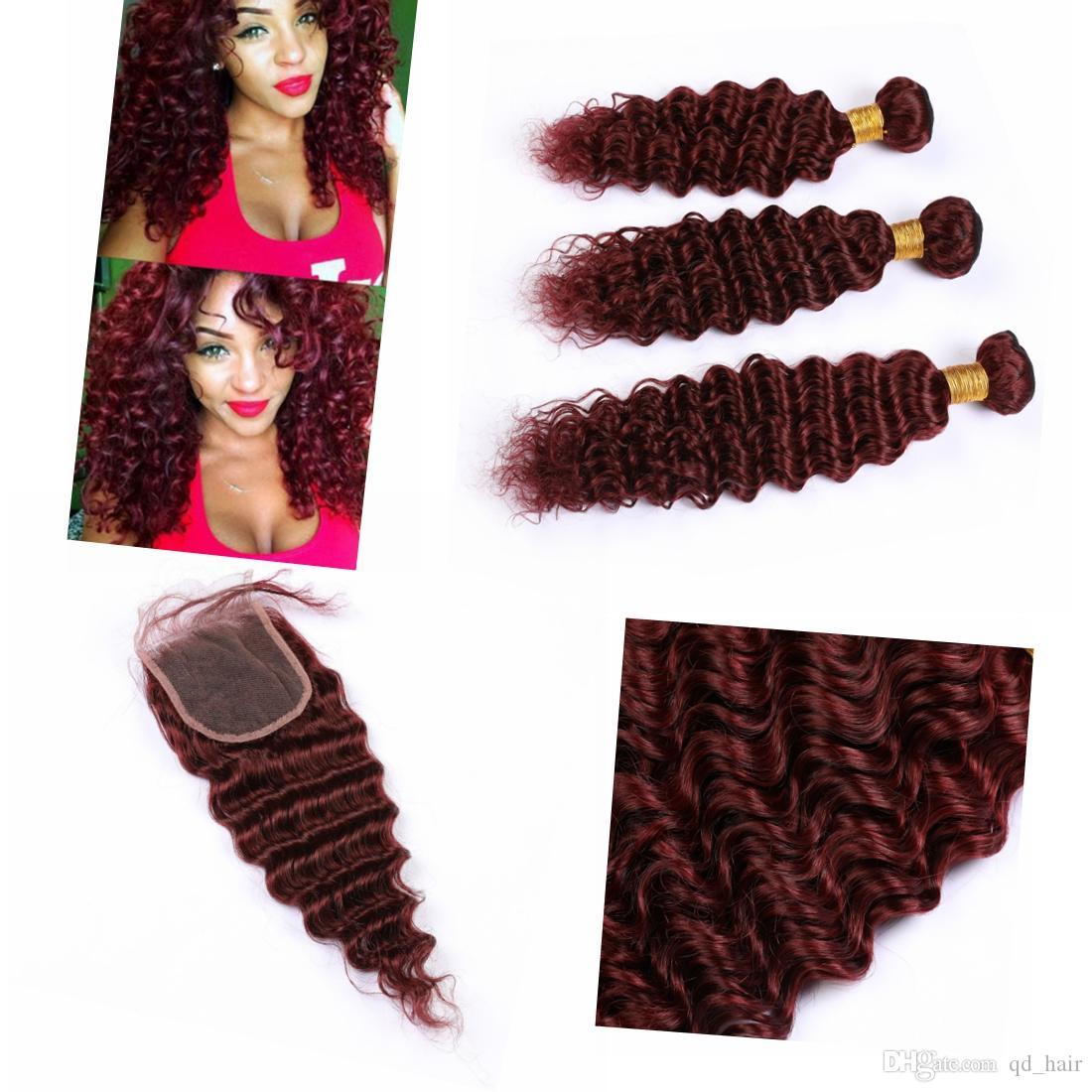Com Cabelo Vermelho indiano Pacotes Humano 99J COR Red Wet e ondulado Cabelo Humano Weave Pacotes profunda ondulado