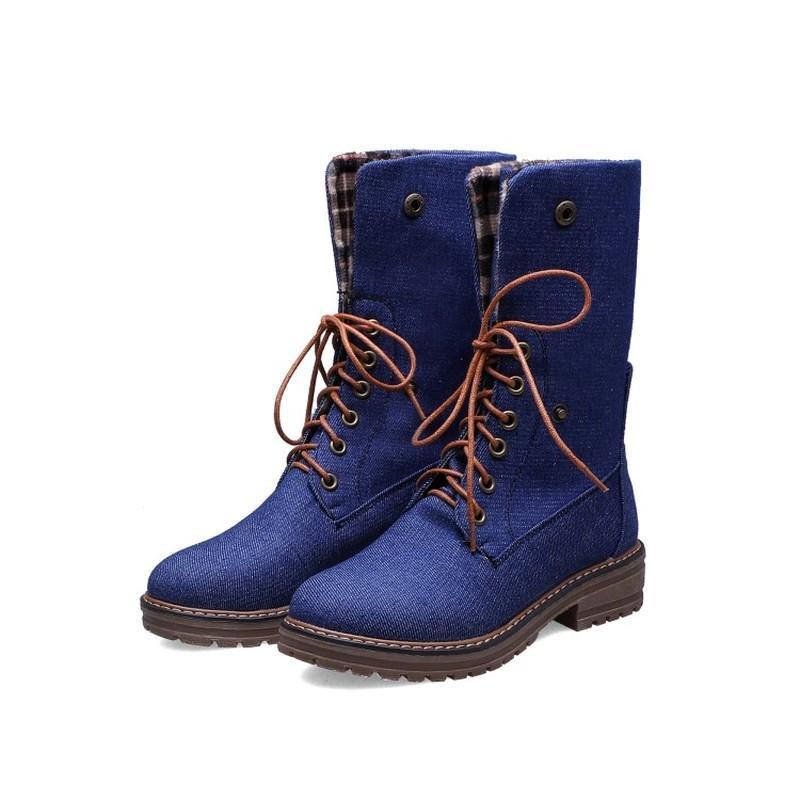 US4-11 Kadın Yuvarlak Burun Denim Jeans Orta Buzağı Boots Oxfords Düşük Topuk Lace Up Kış Warrm Motosiklet Artı boyutu 6colors Ayakkabı