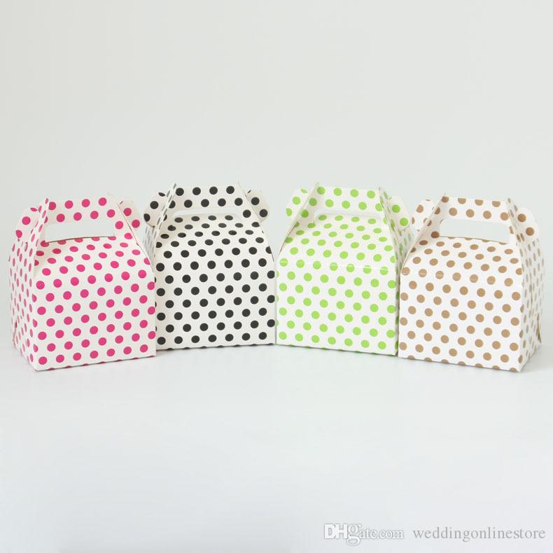 2020 New Dot Design Hochzeitsfestbevorzugung Halter-Punkt-Handtaschen-Pralinen-Süßigkeit-Kästen für Geburtstags-Party