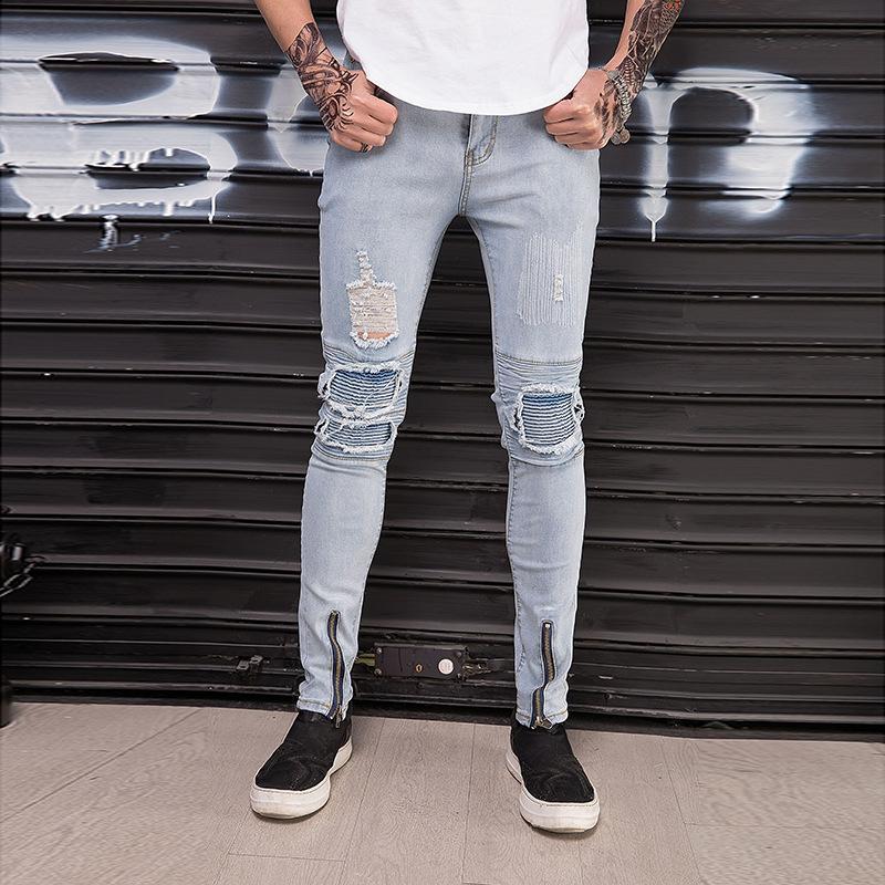 Compre Patron Pop2019 Pantalones Para Hombres Adolescentes Coreanos Slim Joker Hombre Jeans Agujeros Elastic Force Pantalones Masculinos A 39 2 Del Tikoy Dhgate Com