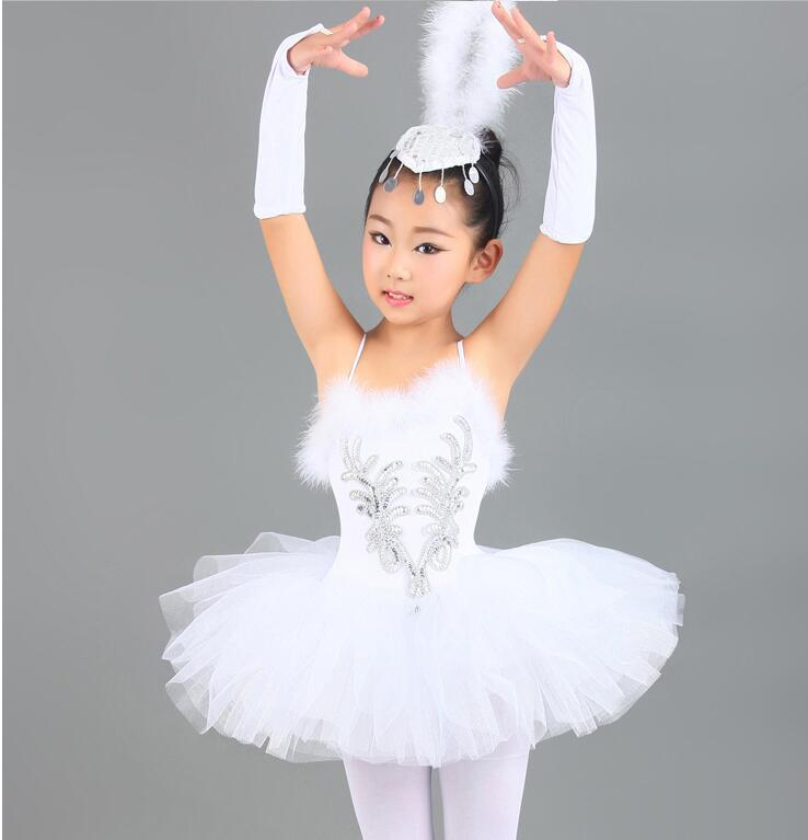 Professional White sequins Swan Lake Ballet Tutu Costume Girls Children Ballerina Dress