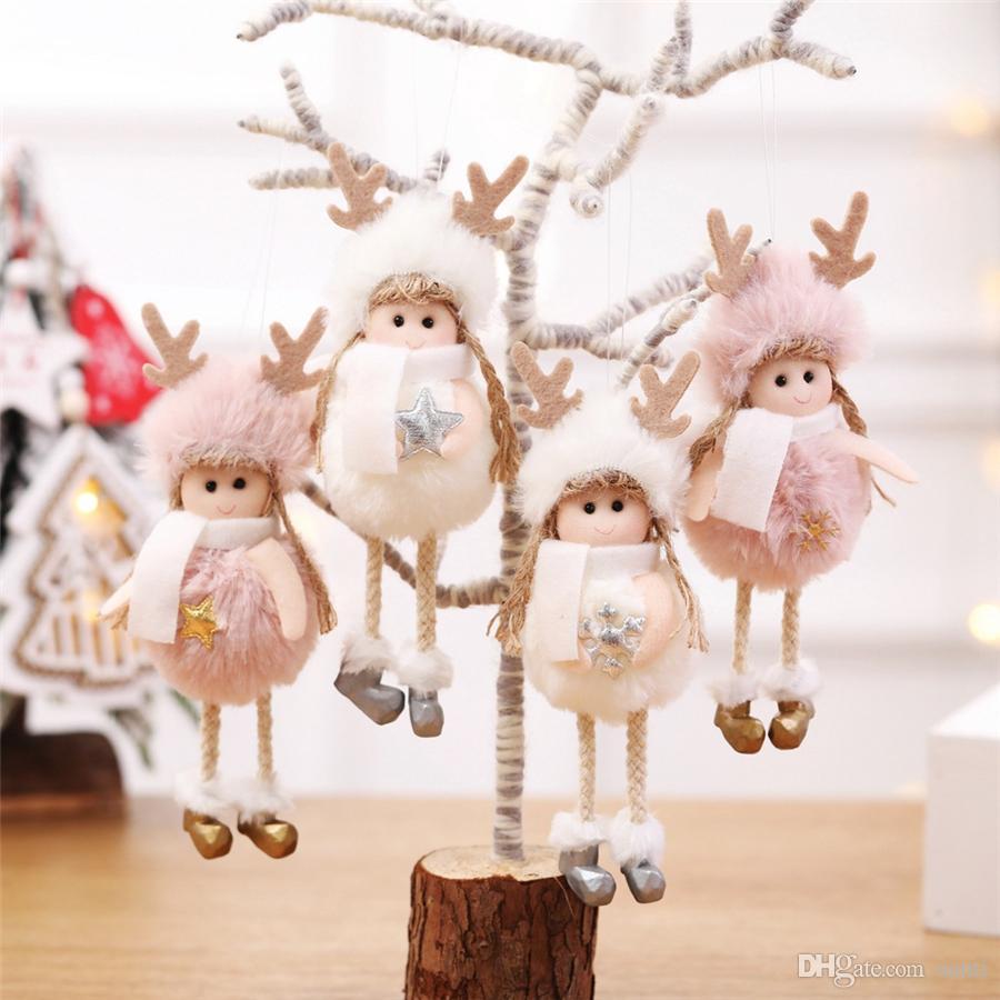 Hängen Weihnachtsbaum Anhänger Netter Engel Plüsch-Puppe Weihnachten Heim Tabelle Anzeigefenster Dekoration New Year Geschenke Party-Ornamente JK1910