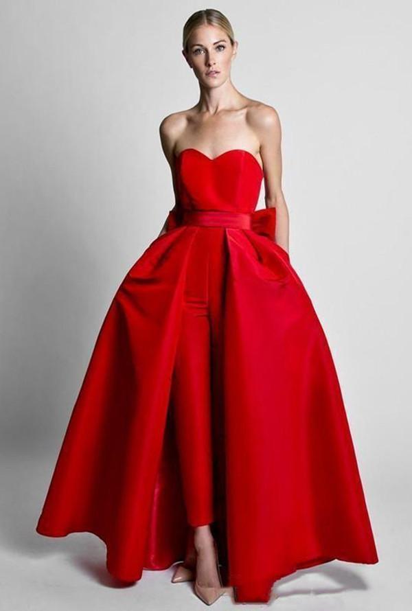 두 조각 공식 빨간색 여성 점프 수트 이브닝 드레스 분리형 스커트 연인 댄스 파티 파티 착용 바지와 여성을위한 바지