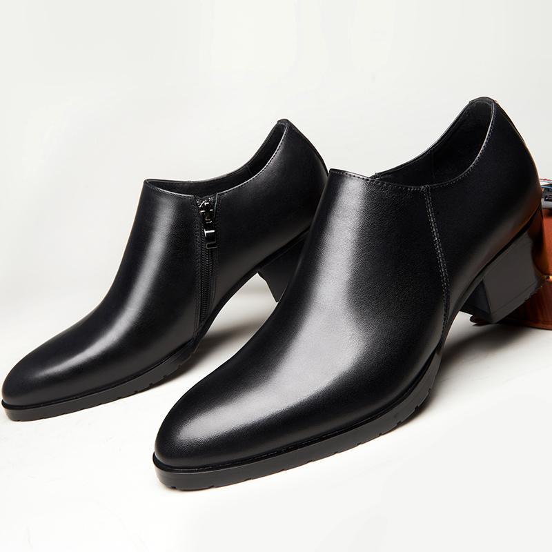Pattini di cuoio genuini degli uomini di alta Heel Designer Round Toe Zip laterale di aumento di altezza 5CM abito nero da sposa Scarpe Ufficio di lavoro