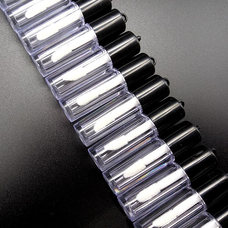 0.8 мл 200шт мини DIY косметическая Жидкая губная помада пробирка для образцов, пластиковая маленькая прозрачная бутылка для блеска для губ многоразового использования с черной крышкой