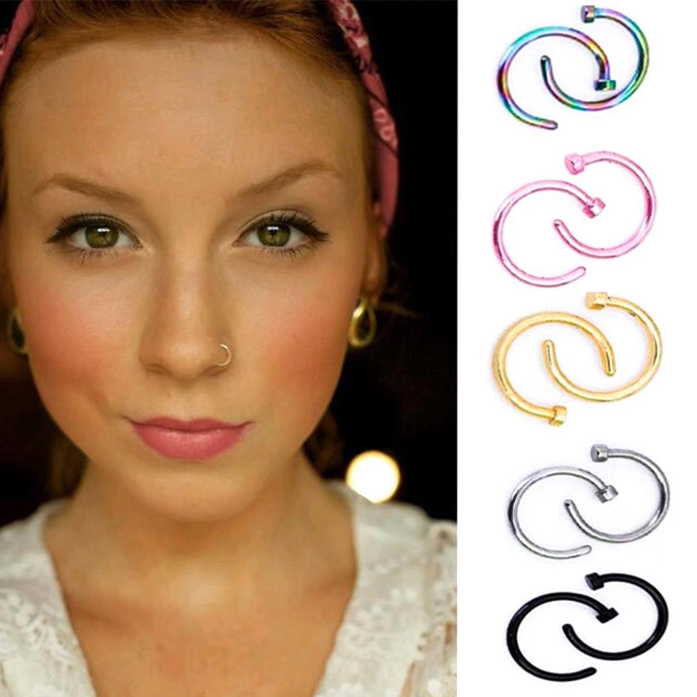 2020 Nostril Titanium Gold Silver Nose Hoop Nose Rings Clip On