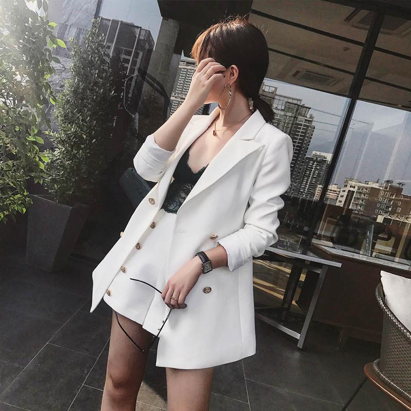 Dos piezas Vestido elegante Oficina Lady Rivet Vintage pantalón trajes 2 juegos con muescas chaqueta sólida Blazer + Moda Mini pantalón de cintura alta