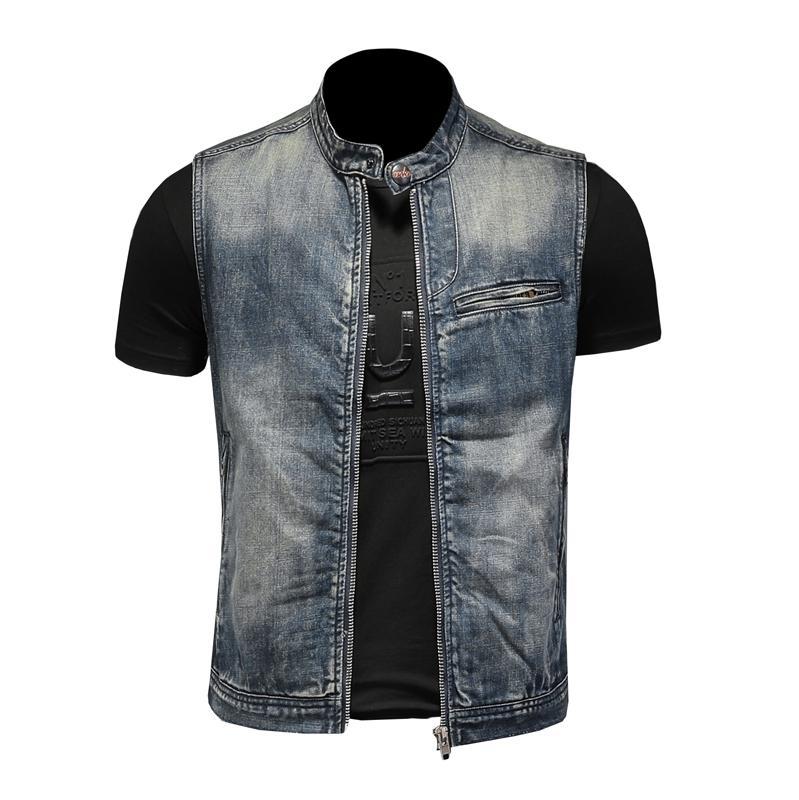 Mens Stand Collar Motorcycle Biker Denim Vest Vintage Zipper Cowboy Wasitcoat Men Casual Cotton Sleevless Jean Jacket Coat