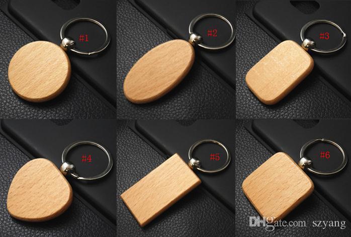 200 pcs DIY chaveiro de madeira Em Branco chaveiro pingente de madeira personalizado melhor presente para amigos graduação 6 estilos logotipo personalizado SN