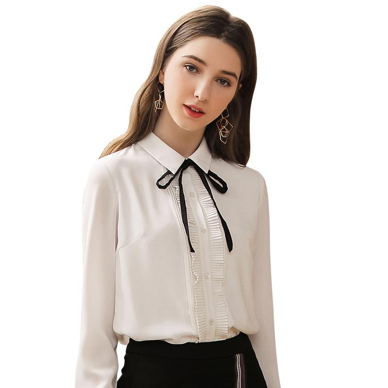 LIVA Kız Kadınlar Seksi Yaka Şifon Bluz Bayanlar Uzun Kollu Pileli Gömlek