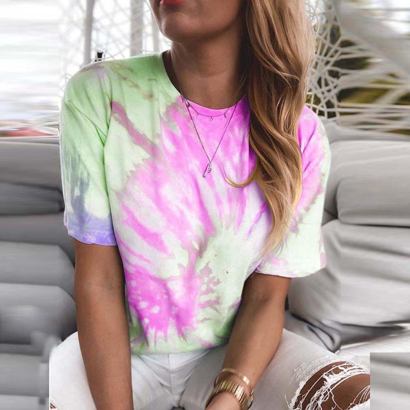 여성 넥타이 염료 하라주쿠 T 셔츠 여름 Mujer 드 모다 2020 패션 한국어 프린트 티 라운드 넥이 여성 M6 탑