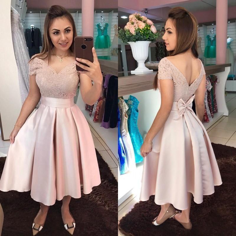 Elegante Off Hombro Pink PROM PROM DE PROMO VESTIDOS 2020 Vestidos de noche largos Vestidos de cóctel formales cortos Encaje Vestido de ocasión especial