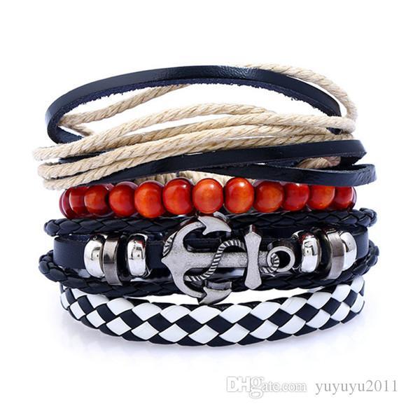 11styles Vintage Braided Leather Bracelet Brown Punk Wide Cuff Hollow Bracelet Bangles For Men Women Jewelry Friendship Gift 01 pksp6-7