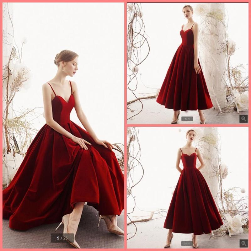 2020 nouveau velours de vin d'arrivée une ligne de cou chérie robe courte de bal de spaghetti filles petite robe de bal informelle cocktail