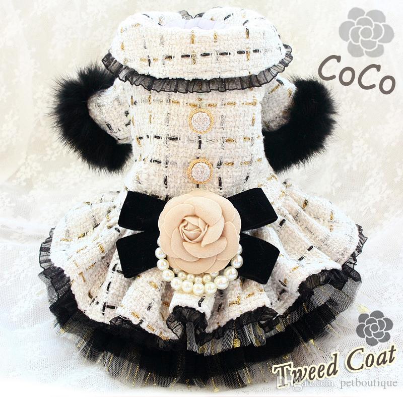El Yapımı Köpek Giyim Pet Giysileri Prenses Moda Klasik Vintage Kamelya Yay Kürk Kollu Tüvit Coat Kediler Kıyafet Kaniş Malta