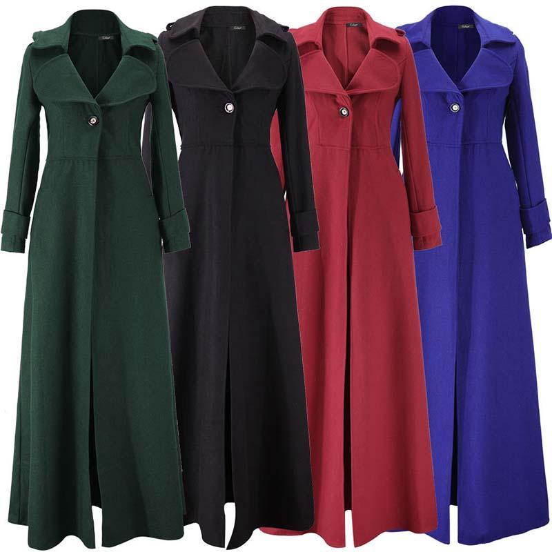 Sonbahar ve kış Katı renk uzun kadın yün ceket 2019 yeni moda büyük sizeTurn-down Yaka kadın yün ceket LXL21