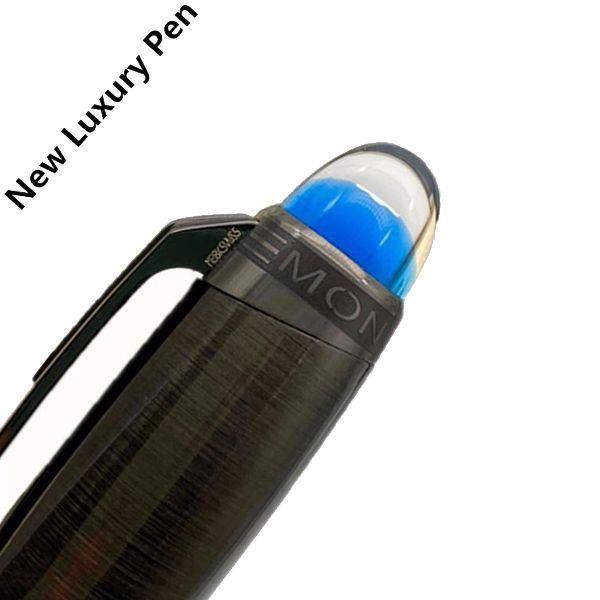 Blue Crystal Novo Luxo Pen MB Marca Roller Ball caneta esferográfica penas de fonte Com Único Top Office Design Negócios Stationery Pens Presente Para