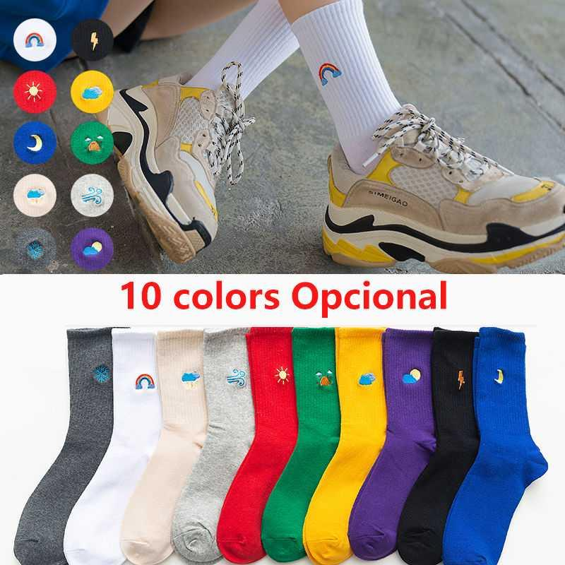 NEW 100 Cotton Harajuku Unisex Rainbow Color Gifts for Men Socks Weather Forecast Hip Hop Funny Casual Happy Fashions Socks Men