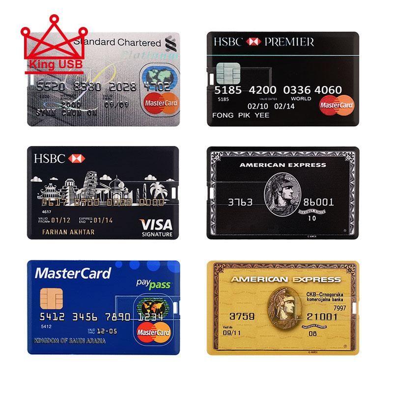 신용 카드 마스터 비자 카드 HSBC 아메리칸 익스프레스 USB 플래시 드라이브 펜 64GB 32G 8G 16G USB 은행 카드 메모리 스틱 드라이브 펜 4G 2G NewStore