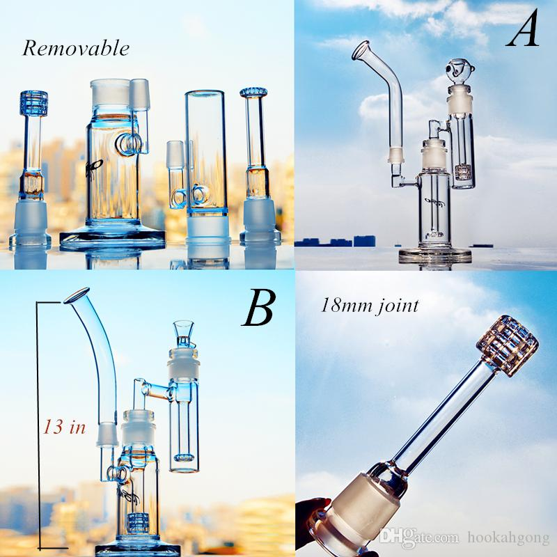 Removable glass water bongs Heady dab rigs Glass water pipes Birdcage Tire Honeycomb Perc With 18mm Adapter Bowl bubber Water Pipe 13 inch