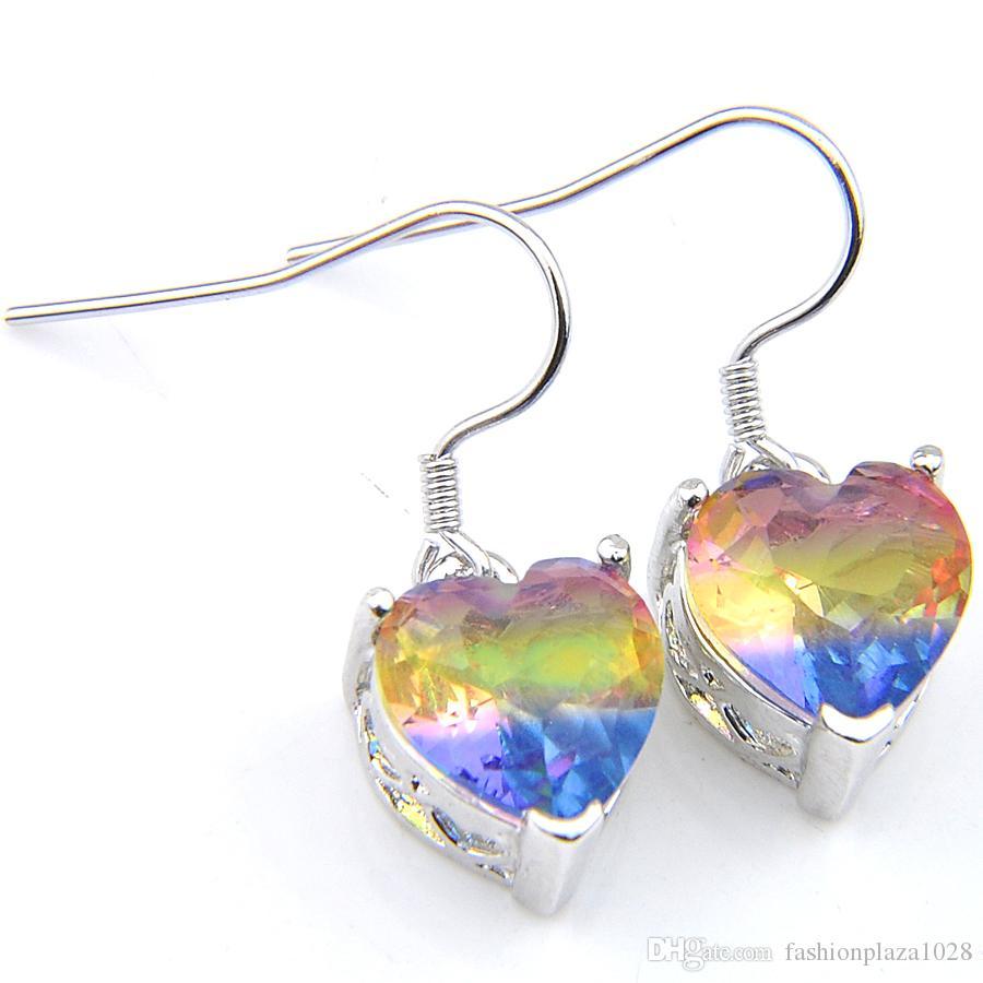 Plated 925 Srebrny Serce Cut BI Kolorowe Tourmaline Dangle Kolczyki Rainbow Kolczyk Biżuteria Ślubna Kobieta Bezpłatny statek