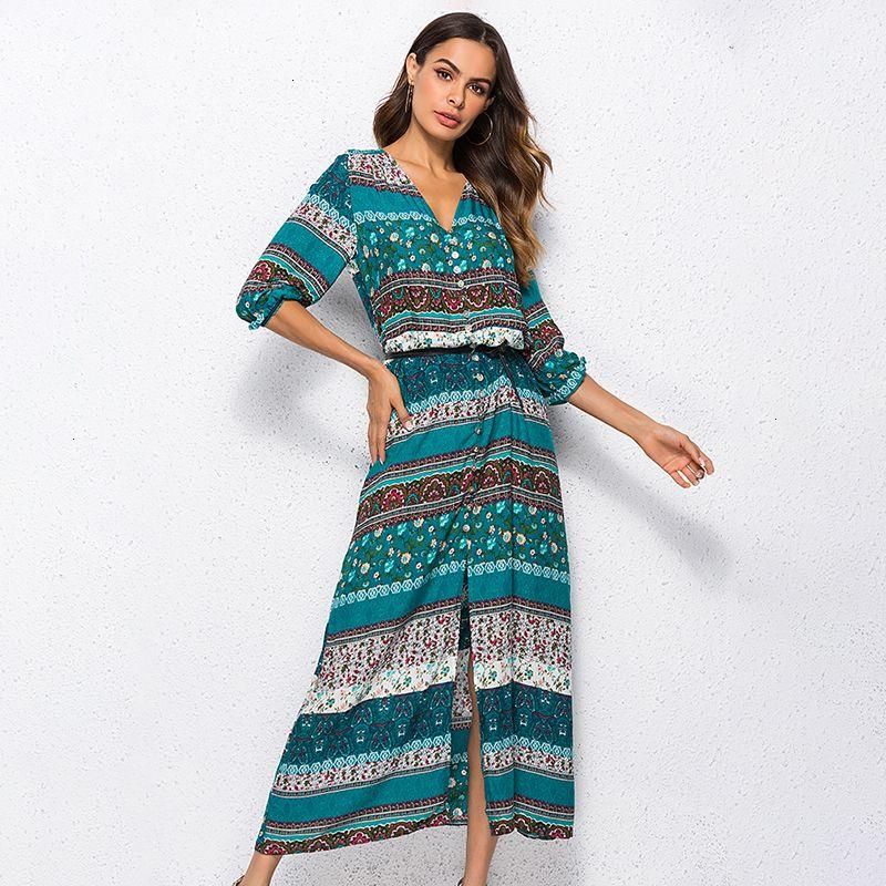 Kadınlar Tasarımcı Giyim Tasarımcı Elbise Bohemian Yeni Uzun Elbise Kadınlar Maxi Uzun Elbise Çiçek vestidos Şık Marka Giyim Boho yazdır