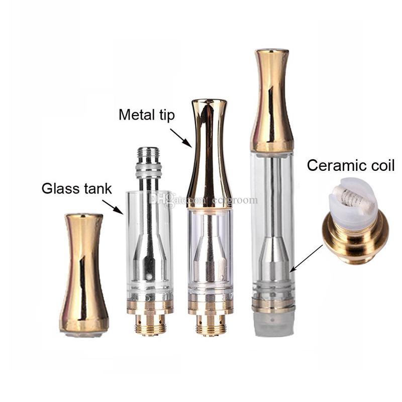 1 ml 0.5 ml 골든 AC1003 세라믹 코일 Pyrex 유리 카트리지 처분 할 수있는 510 분무기 오일에 맞는 기화기 펜 추출 용 배터리